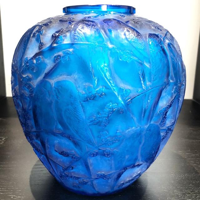 Vase «Perruches» bleu